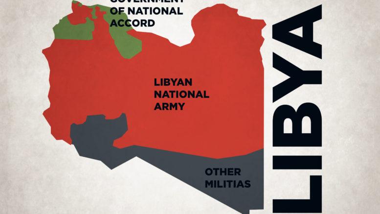 Libye: Qui contrôle quoi. Équilibre des forces adverses en Libye. Carte avec les zones sous le contrôle du Gouvernement d'entente nationale (GNA), et celles contrôlées par l'Armée nationale libyenne (ANL)